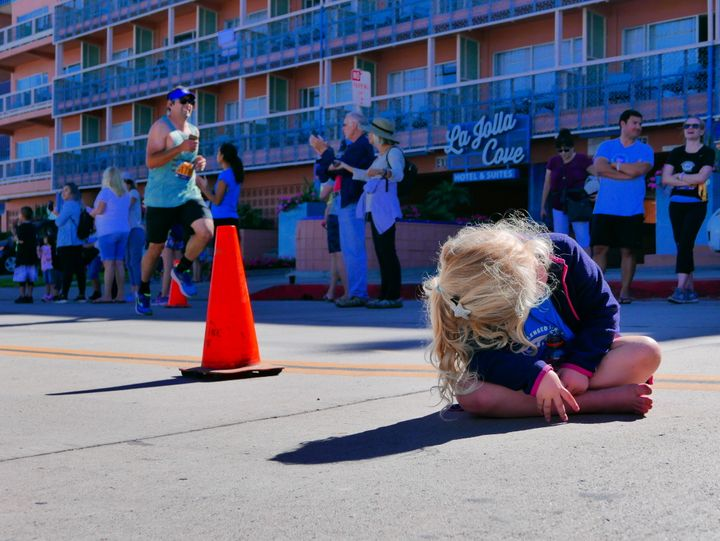 Watching a race can be exhausting and stressful, as demonstrated here by my 4-year-old niece.