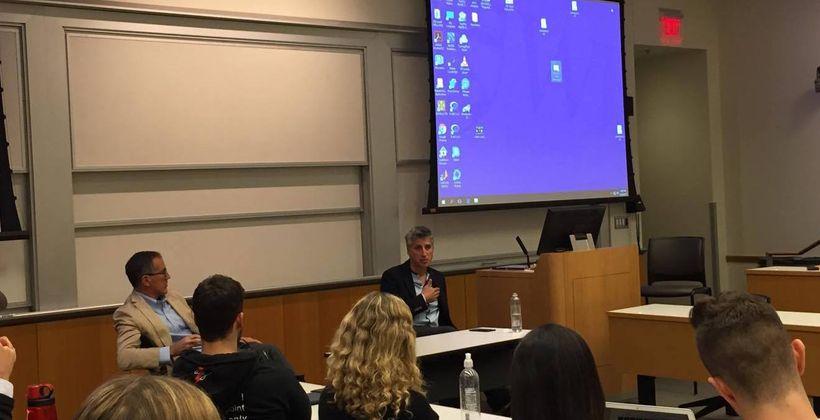 Zocdoc CEO Oliver Kharraz sharing wisdom to aspiring student founders