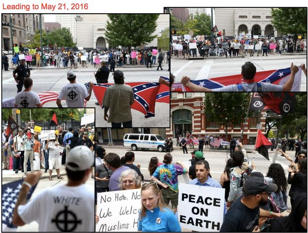 Pro- and anti-Muslim rallies found themselves squaring off in Houston after events were orchestrated...