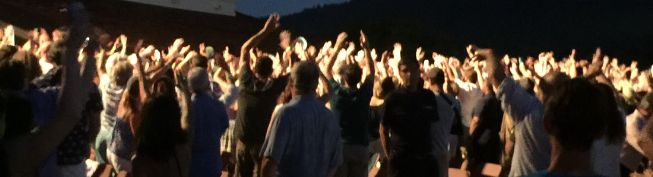 Michael Franti brings the crowd to their feet at the Summer Concert Series of Robert Mondavi.