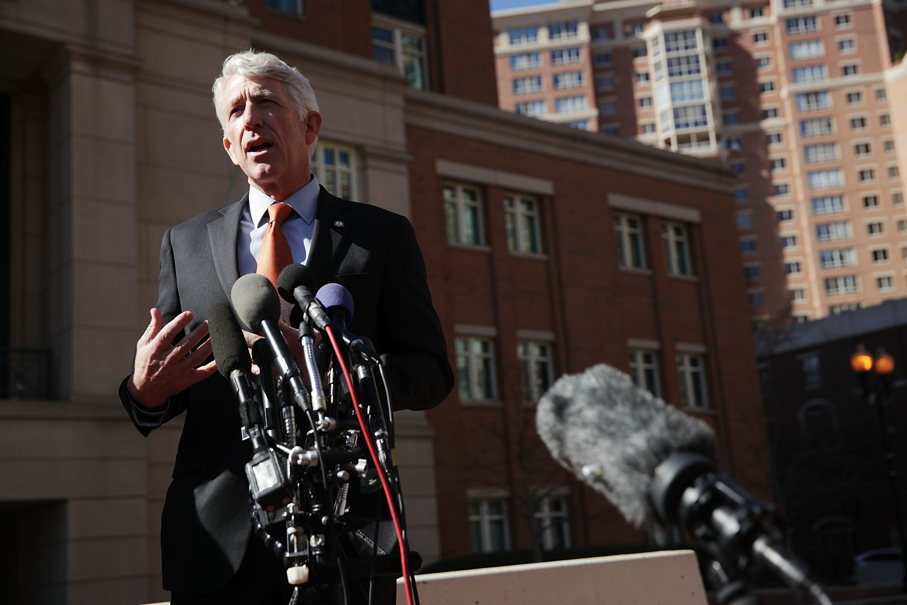 ALEXANDRIA, VA - FEBRUARY 10:  Virginia Attorney General Mark Herring speaks to members of the media after a hearing February 10, 2017 in front of a U.S. District Court in Alexandria, Virginia. Attorney General Herring attended the hearing for a request he filed to block the travel ban executive order issued by President Donald Trump.  (Photo by Alex Wong/Getty Images)