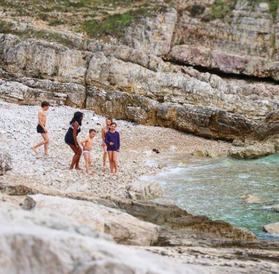 Taking a dip in the Adriatic Sea in Pula,