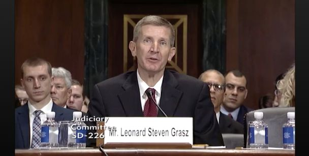 Here's Leonard Steven Grasz in his confirmation hearing, listening to Democratic senators read aloud all the reasons why he w