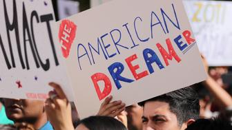 Students gather in support of DACA (Deferred Action for Childhood Arrivals) at the University of California Irvine Student Center in Irvine, California, U.S., October 11, 2017. REUTERS/Mike Blake