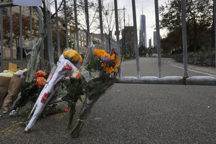 A makeshift memorial stands on a bike path in lower Manhattan on November 1, 2017 in New York City. Eight people were killed