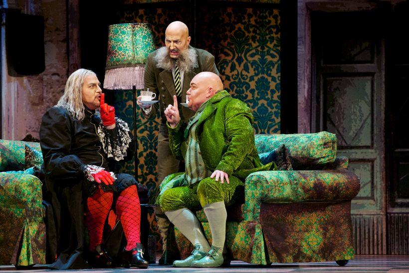 Daniel Sumegi (Don Basilio), Marc Kenison (Ambrogio) and Kevin Glavin (Dr. Bartolo), courtesy of Seattle Opera