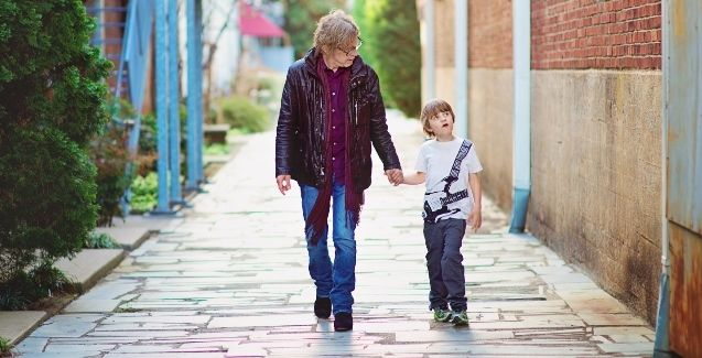 <p>Cheap Trick's Tom Petersson with his son Liam. </p>