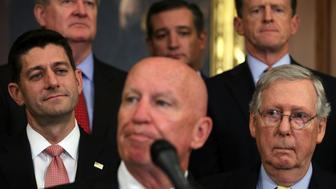 WASHINGTON, DC - SEPTEMBER 27:  U.S. Rep. Kevin Brady (R-TX) (C) speaks as Speaker of the House Rep. Paul Ryan (R-WI) (L), Senate Majority Leader Sen. Mitch McConnell (R-KY) (R) and other congressional Republicans listen during a press event on tax reform September 27, 2017 at the Capitol in Washington, DC. On Wednesday, Republican leaders proposed cutting tax rates for the middle class, wealthy and businesses. Key questions remain on how they plan to offset the trillions of dollars in lost tax revenue.Ê  (Photo by Alex Wong/Getty Images)