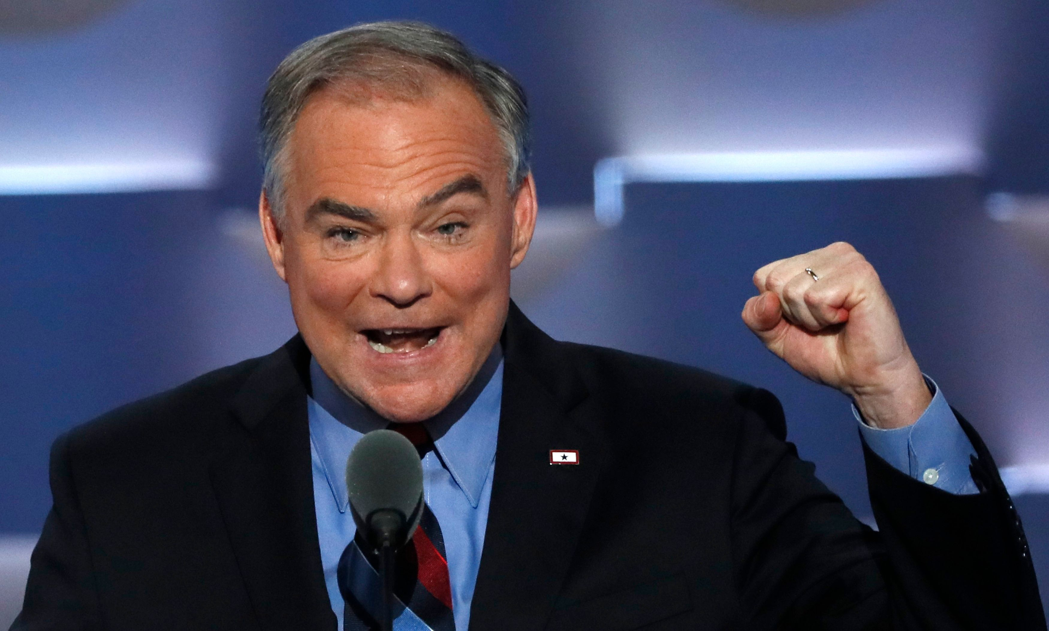 Kaine speaking on the third night at the Democratic National Convention on July 27, 2016.