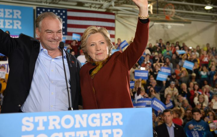 Clinton and Kaine attend a campaign event on Oct. 22, 2016.
