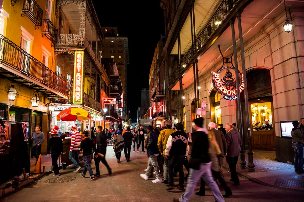 "The French Quarter draws thousands of people as ""party central"" in New Orleans."