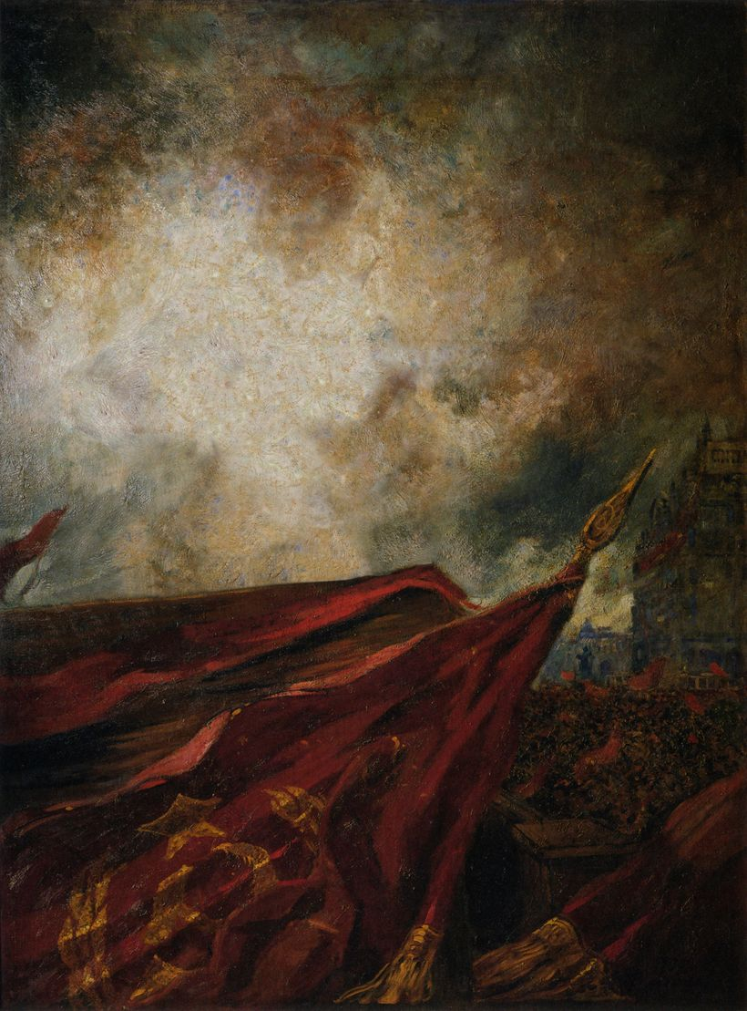 "Yevgeniy Fiks.<em>Leniniana no.1 (after Aleksandr Gerasimov, ""V.I. Lenin on the Tribune""),</em>2008. Oil on canvas, 72 x 53"