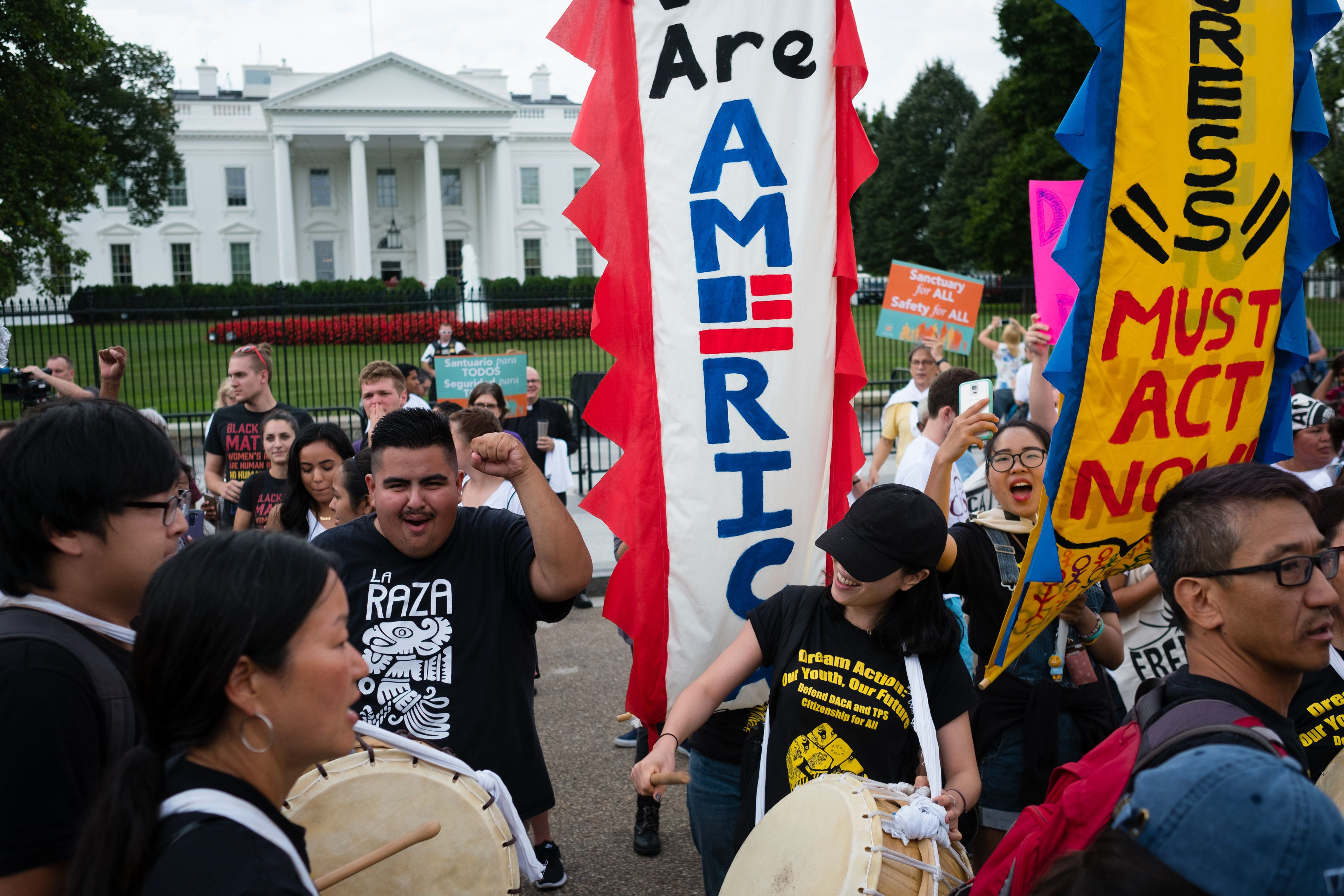 WASHINGTON, DC - SEPTEMBER 5:  Hundreds of immigrant advocates gathered at the White House on Tuesday, September 5, 2017 to defend DACA and TPS. (Photo by Sarah L. Voisin/The Washington Post via Getty Images)