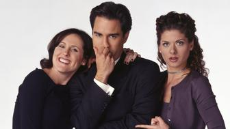 Will & Grace -- 'Grace, Replaced' Episode 18 -- Aired 04/08/1999 -- Pictured: (l-r) Molly Shannon as Val Bassett, Eric McCormack as Will Truman, Debra Messing as Grace Adler -- Photo by: NBCU Photo Bank