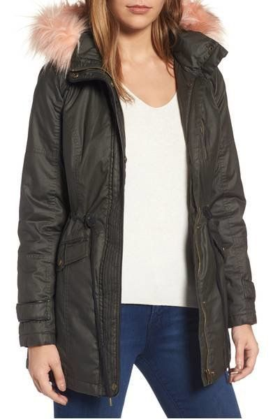 "30% off from $129. Get it <a href=""https://shop.nordstrom.com/s/sebby-waxed-cotton-parka-with-faux-fur-hood/4631754?origin=ca"