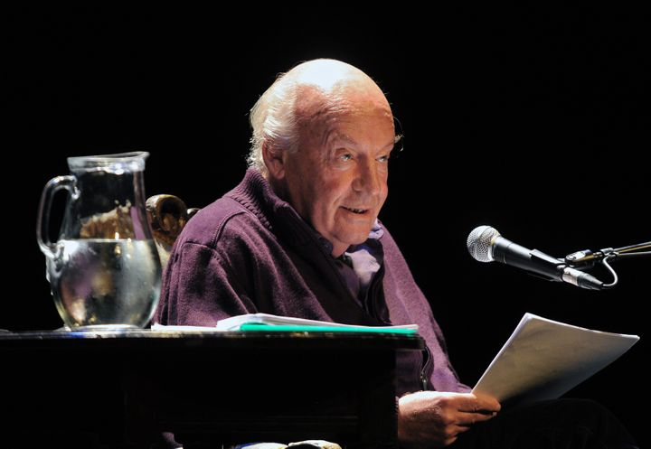 Uruguayan writer Eduardo Galeano reads at the Solis Theater in Montevideo on April 3, 2012.