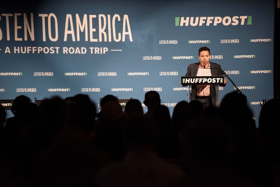 HuffPost Editor-in-Chief Lydia Polgreen speaks to the audience during the HuffPost bus tour wrap party at Marigny Opera