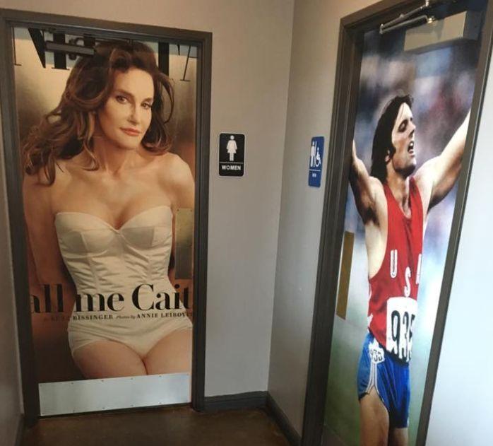 Restaurant Uses Pre- And Post-Transition Caitlyn Jenner Photos As Bathroom