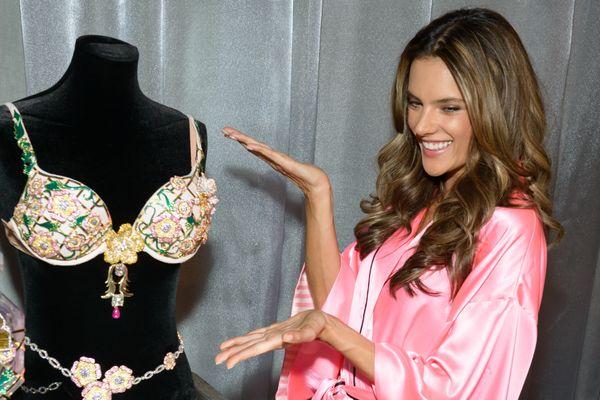Model Alessandra Ambrosio poses with the 2012 Fantasy Bra backstage at the 2012 Victoria's Secret Fashion Show on Nov. 7, 201