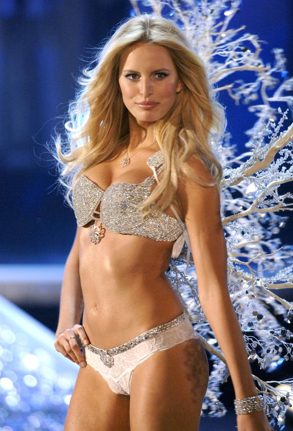 "Karolina Kurkova wearing ""The Victoria's Secret Hearts on Fire Diamond Fantasy Bra"" in 2006."