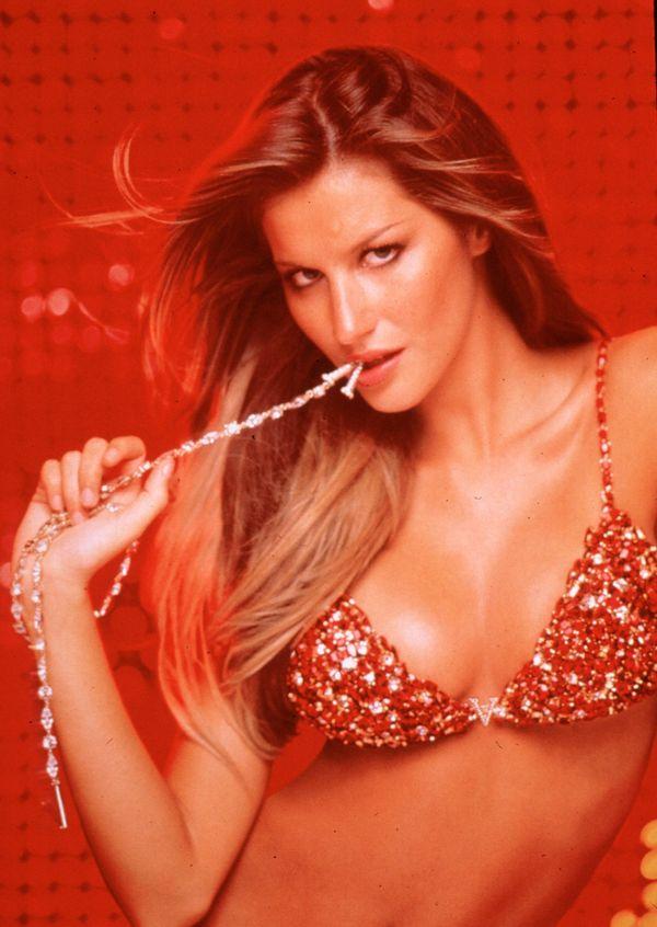 Supermodel Gisele Bundchen shows off a $15 million red hot fantasy bra set from Victoria's Secret lingerie line in 2000. The
