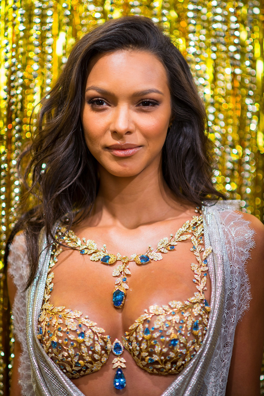 Victoria's Secret Angel Lais Ribeiro reveals the 2017 Champagne Nights Fantasy Braon Nov. 1, 2017 in New York City.&nbs