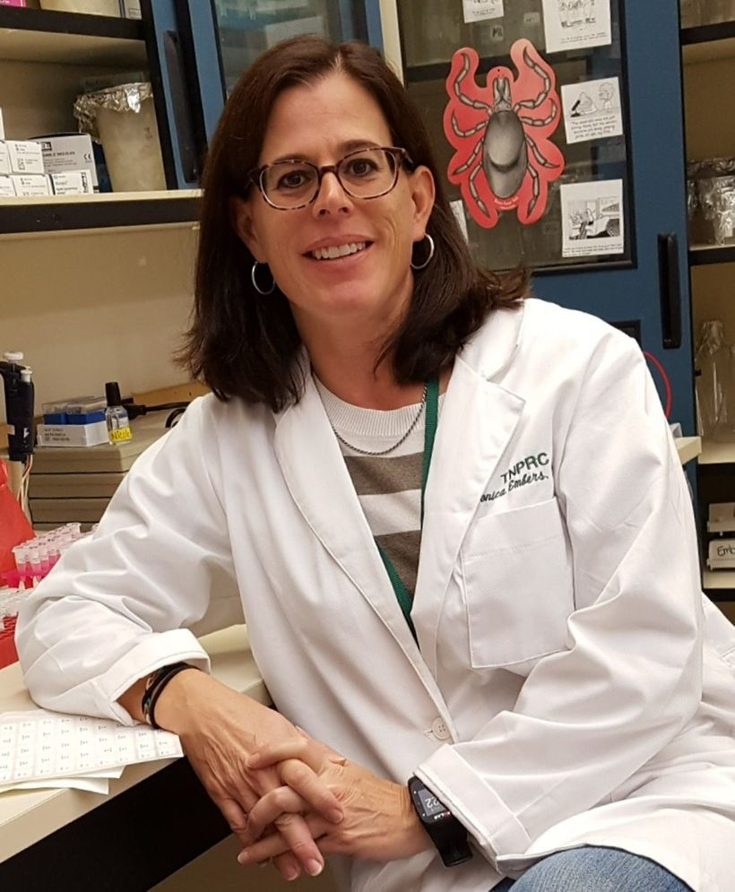 Monica Embers, shown in her lab at Tulane University, is one of several researchers who have demonstrated that the Lyme patho