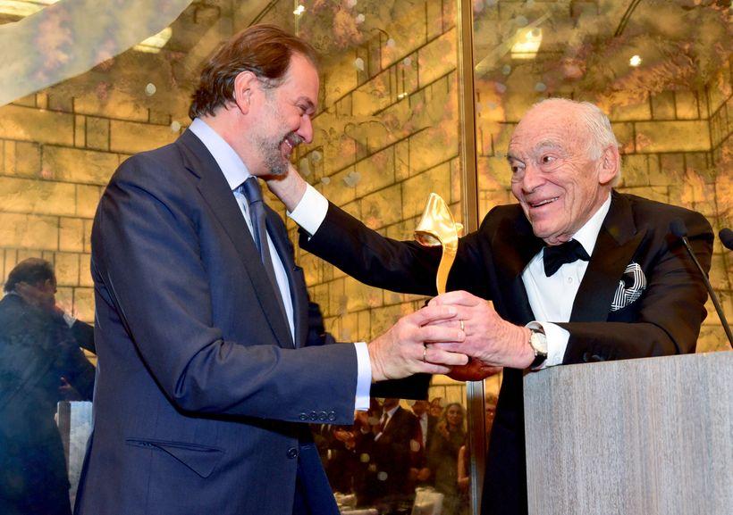 Nicolas Mirzayantz (L) is honored by Leonard Lauder (R), Chairman Emeritus of the Estée Lauder Companies, Inc., at the Fragra