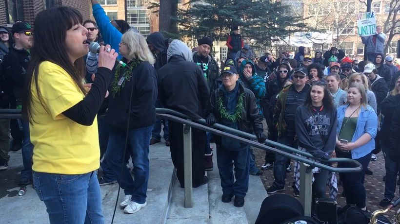 Lissa Satori, now employed by Marijuana Policy Project, addresses a crowd at Michigan Hash Bash in 2017