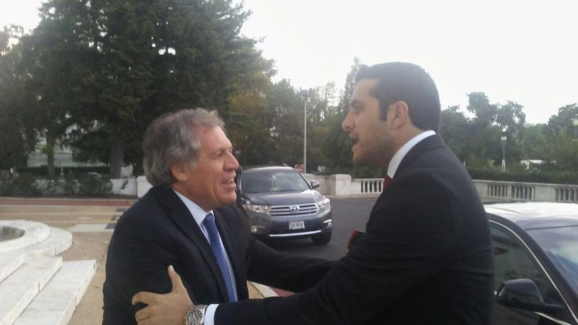 Luis Almagro, Secretary-General of the Organization of American States, greets Jorge.