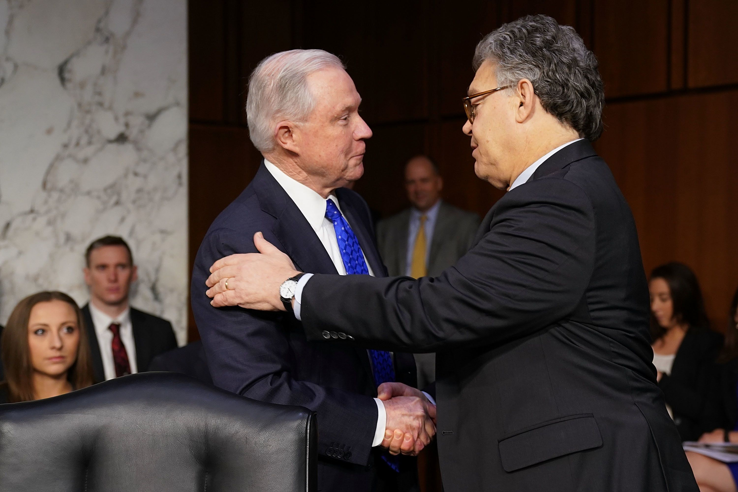 WASHINGTON, DC - OCTOBER 18:  U.S. Attorney General Jeff Sessions (L) is greeted by Senate Judiciary Committee member Sen. Al Franken (D-MN) before a hearing in the Hart Senate Office Building on Capitol Hill October 18, 2017 in Washington, DC. Committee members questioned Sessions about conversations he had with President Donald Trump about the firing of former FBI Director James Comey, the Defered Action for Childhood Arrivals (DACA) policy, the ongoing investigation about Russian intereference in the 2016 presidential election by Robert Muller and other subjects.  (Photo by Chip Somodevilla/Getty Images)