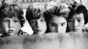 From left to right, Jeff Cohen, Sean Astin, Corey Feldman and Ke Huy Quan in a scene from the film 'Goonies', 1985. (Photo by Warner Brothers/Getty Images)