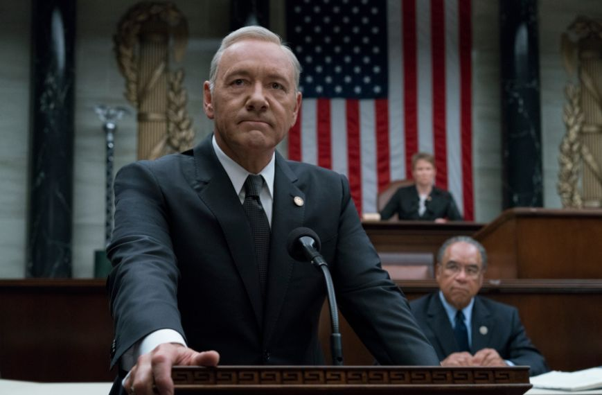 <strong>Kevin Spacey as Frank Underwood</strong>