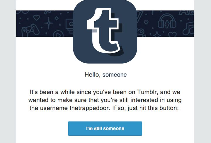 A tumblr message asks users to confirm their account status