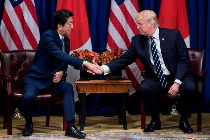 Shinzo Abe, Japan's prime minister, and U.S. President Donald Trump talked during the United Nations General Assembly in New