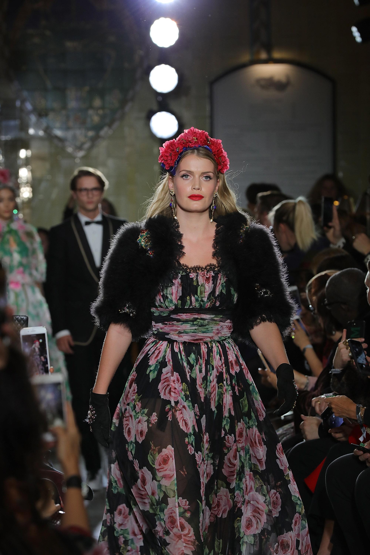 Lady Kitty Spencer walks in Dolce & Gabbana's Italian Christmas show at Harrods on Nov. 2 in London.