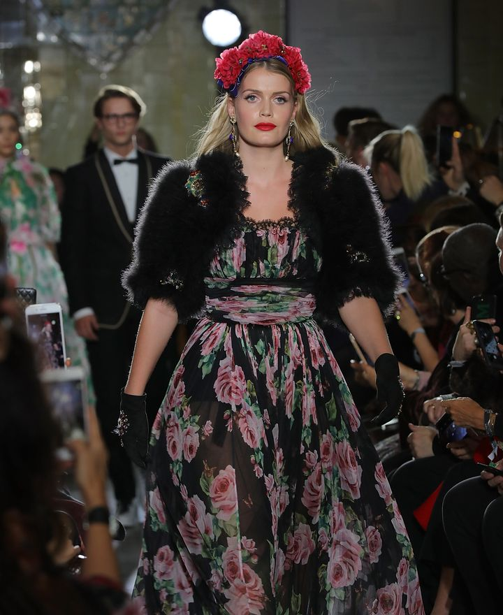 Lady Kitty Spencer walks in Dolce & Gabbana's Italian Christmas show at Harrods on Nov. 2 in London.