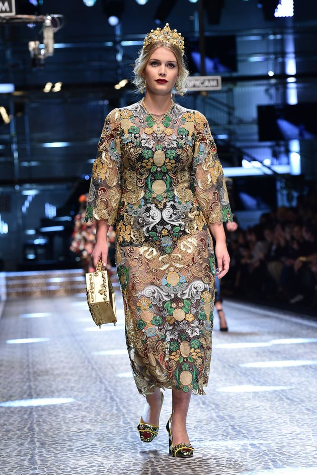 Kitty Spencer walks the runway at the Dolce & Gabbana show during Milan Fashion Week on Feb. 26 in...