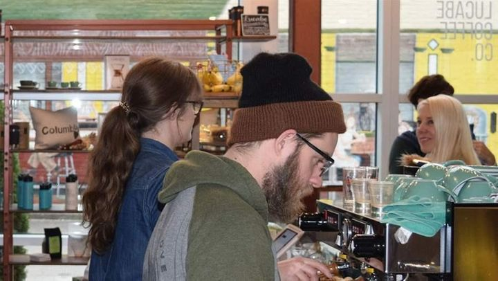 The Lucabe Coffee Co., a coffee shop that opened this year in downtown Columbus, Indiana, is one of the signs of a new influx