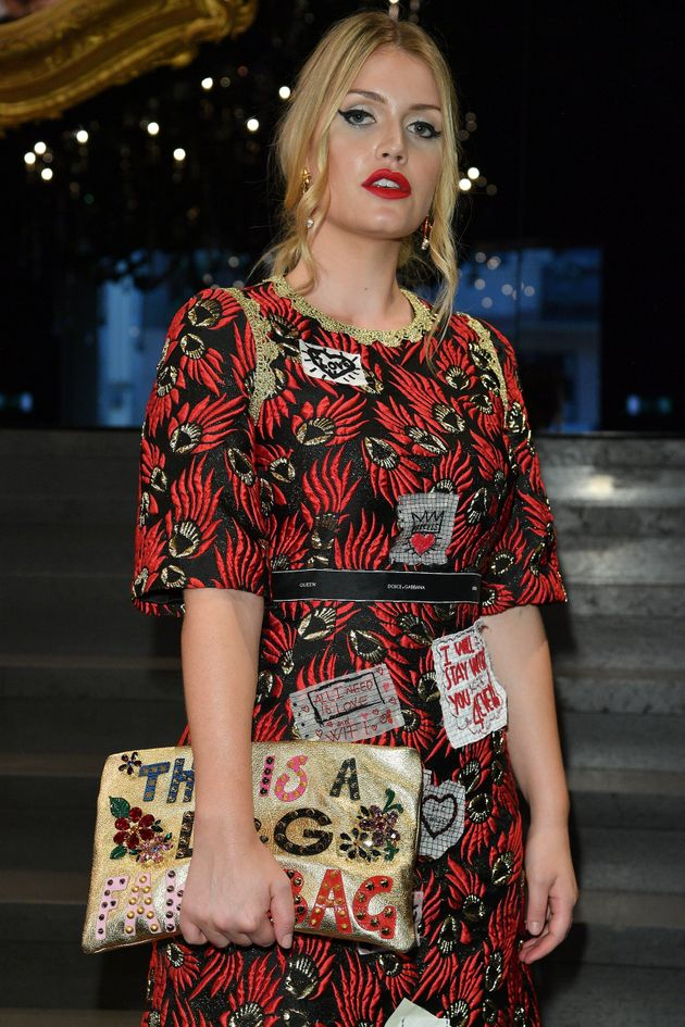 Kitty Spencer attends the Dolce & Gabbana show during Milan Fashion Week on September 24 in Milan,