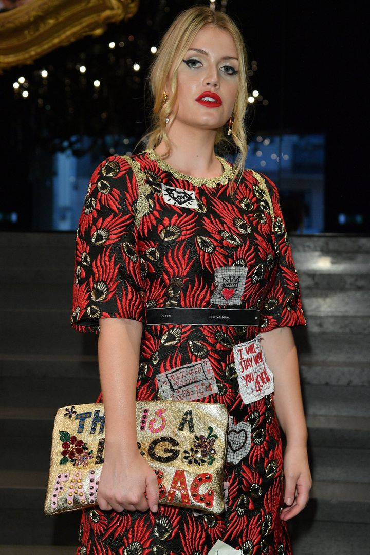 Kitty Spencer attends the Dolce & Gabbana show during Milan Fashion Week on September 24 in Milan, Italy.