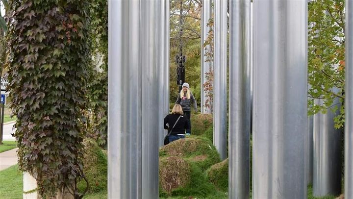 """""""Anything Can Happen in the Woods,"""" an art installation in Columbus, Indiana."""