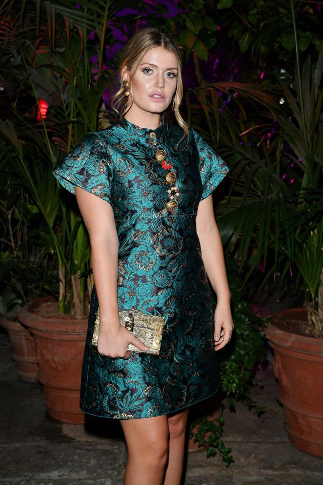 Kitty Spencer attends Dolce & Gabbana Queen Of Hearts Party show during Milan Fashion Week on Sept....