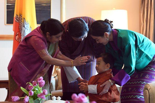Indian foreign minister Sushma Swaraj, Bhutan's prince Jigme Namgyel Wangchuck, Bhutan's King Jigme Khesar...