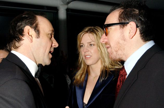 Kevin Spacey (left) at a party in London during his time as artistic director of the Old