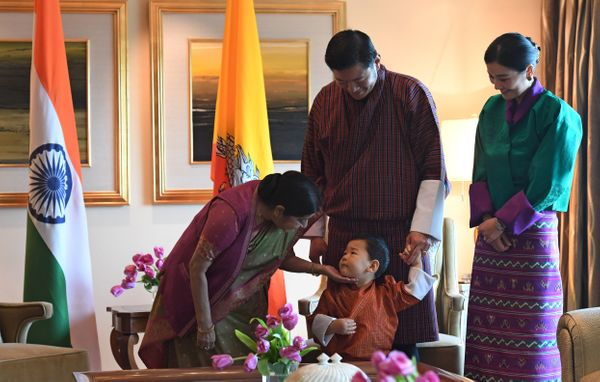 Indian Foreign Minister Sushma Swaraj, prince Jigme Namgyel Wangchuck, King Jigme Khesar Namgyel Wangchuck and Queen Jetsun P