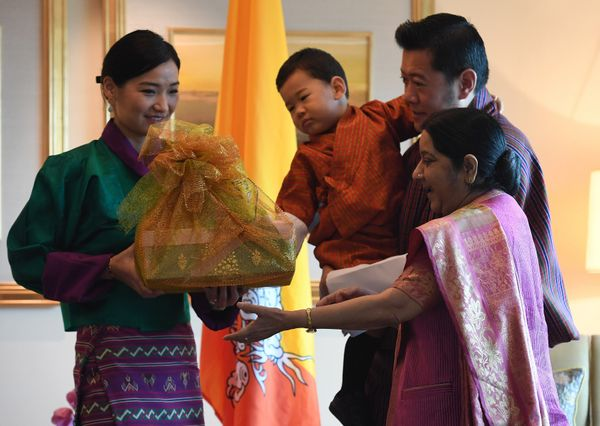 Indian Foreign Minister Sushma Swaraj presenting gifts King Jigme Khesar Namgyel Wangchuck, Queen Jetsun Pema and prince Jigm
