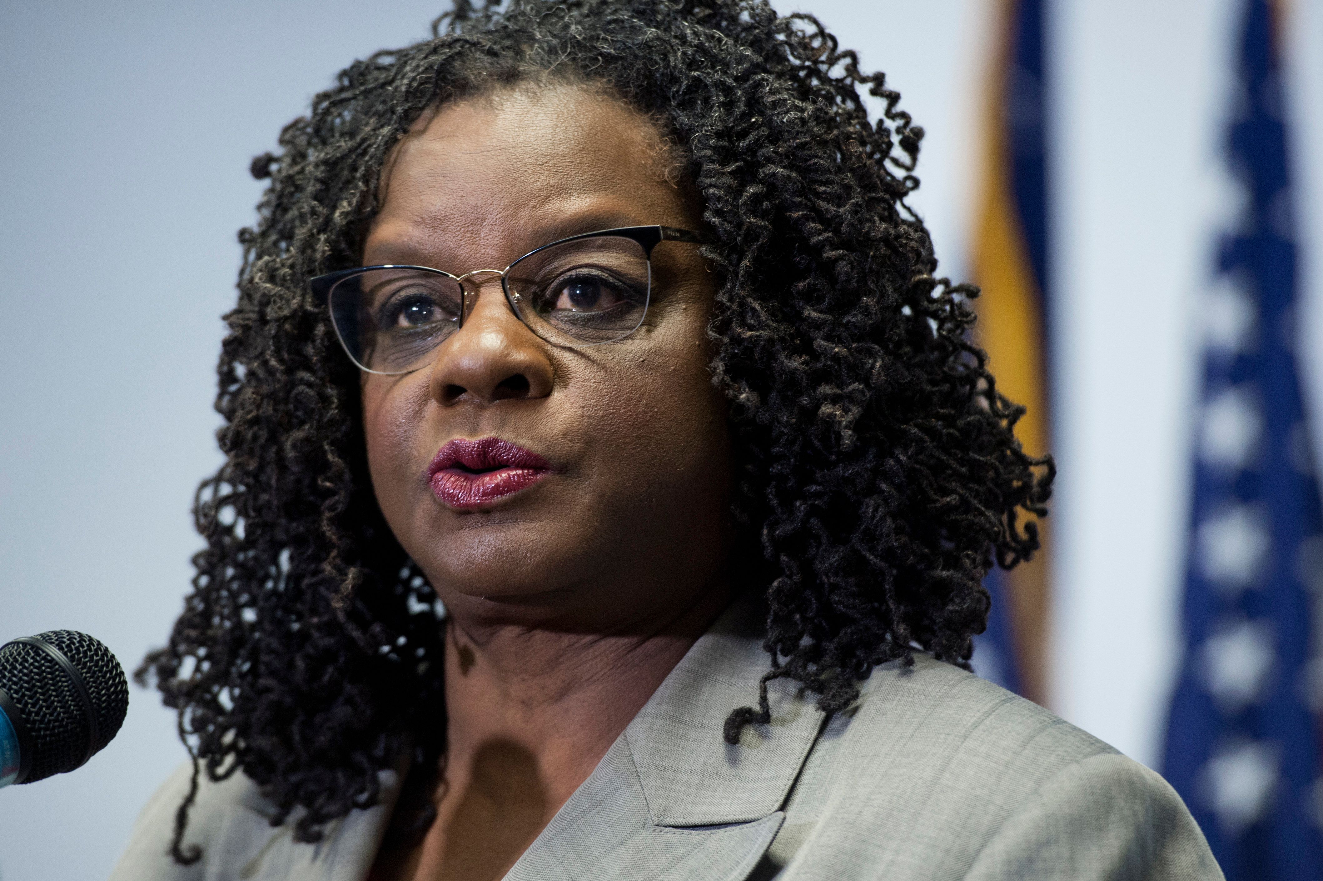 UNITED STATES - FEBRUARY 11: Rep. Gwen Moore, D-Wisc., conducts a news conference at the DNC where members of the Congressional Black Caucus PAC endorsed Hillary Clinton for president, February 11, 2016. (Photo By Tom Williams/CQ Roll Call)