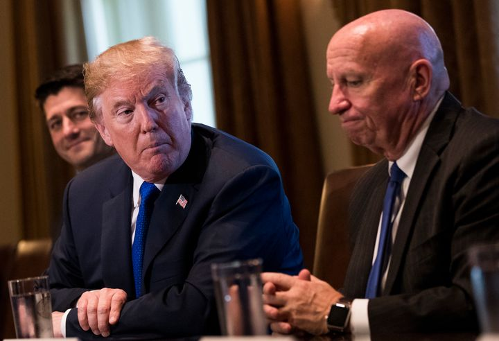 President Donald Trump, flanked by Speaker Paul Ryan and Rep. Kevin Brady, pitches the GOP's tax plan on Nov. 2.