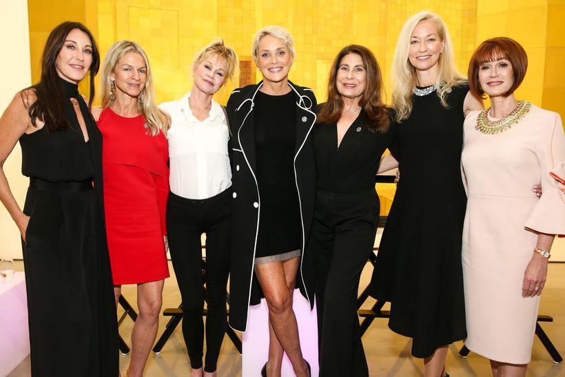 (L-R) Tamara Mellon, Crystal Lourd, Melanie Griffith, Sharon Stone, Paula Wagner, Dr. Pauline Maki, Lynn Posluns